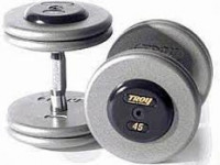 Troy 105-150 lbs Set (10 pr.) 5 lb. increments fixed pro-style dumbbells, straight handle, hammer tone grey plate, chrome end cap